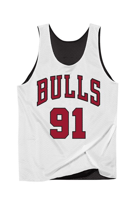 Bulls White Double-Face Rodman